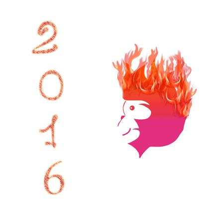 abstract gorilla: Fire Monkey symbol 2016 on white background. Illustration
