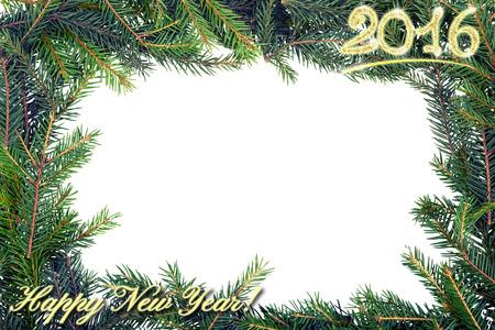 Christmas frame from fir branch.retro toning. copy space. Banco de Imagens