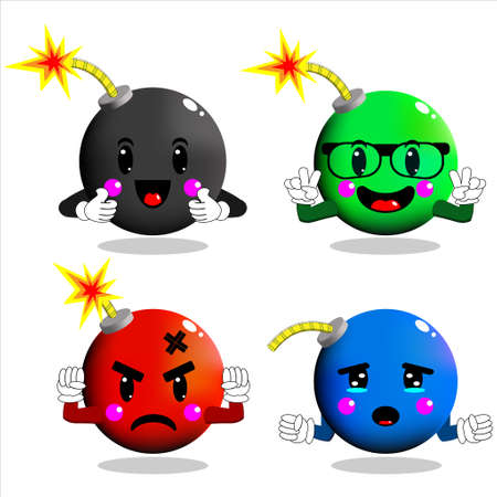 Illustration vector graphic of cute and funny bomb cartoon  character set