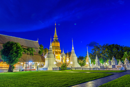 Wat Suan Dok Golden pagoda (monastery) in Chiang Mai at night