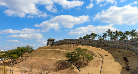 The old city walls of Suwon, South Korea.