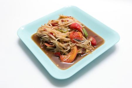 green papaya: Thai Green Papaya Salad (Somtum) Stock Photo
