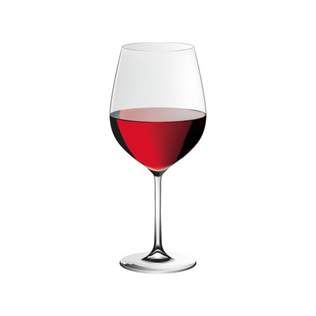 Red wine glass, realistic illustration, isolated on white