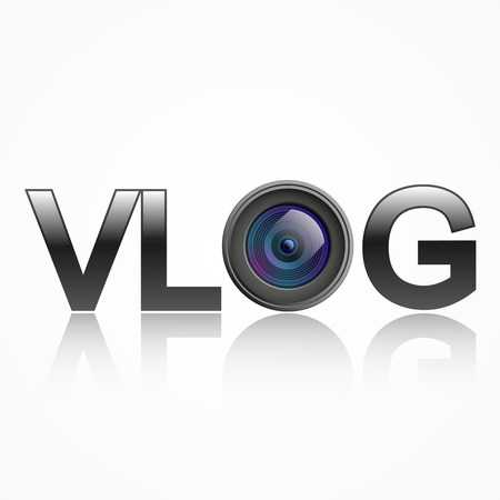 vlog with lens, isolated on white