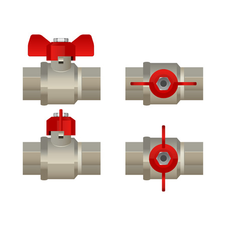 power projection: Ball valve illustration, side and top view, open closed, realistic design, isolated on white