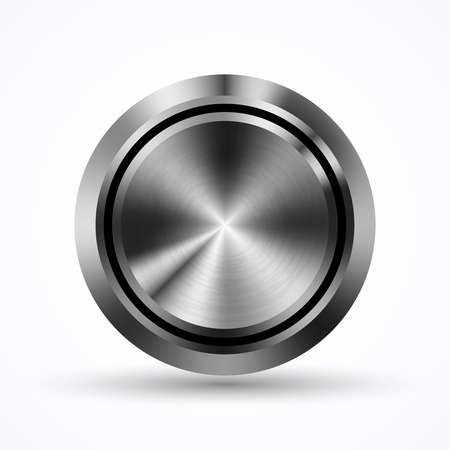 steel: Button with metal texture, steel. Illustration