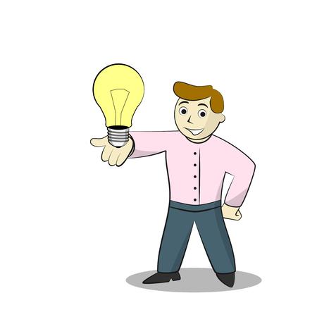 job satisfaction: Businessman With Light Bulb. Cartoon illustration of Idea, isolated on white