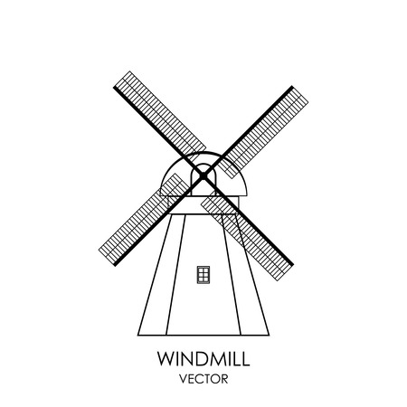 Vector Windmill Icon, isolated on white Illustration