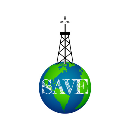 Eco concept, oil derrick on Earth, save the planet Illustration