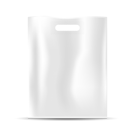 Blank white plastic bag, empty template, realistic vector, isolated on white Illustration