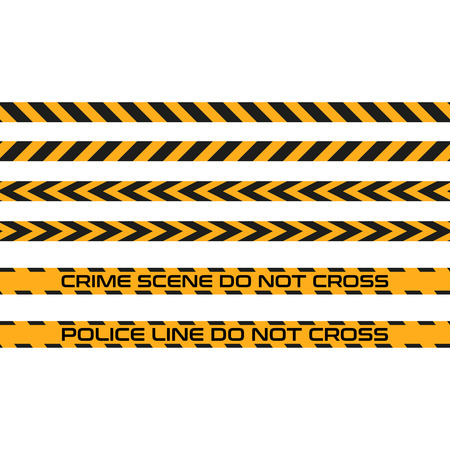 dangerous construction: Vector set of seamless tapes, Police Line do not cross. For restriction and dangerous zones, construction site, crime scene, set