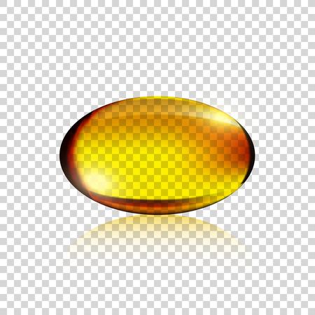 Transparent Realistic yellow gelatin capsule on simple background, vector illustration, vitamin Illustration