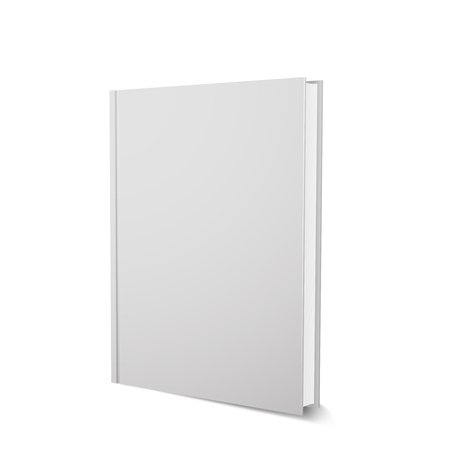 Vector book template, upright, realistic design, isolated on white Illustration