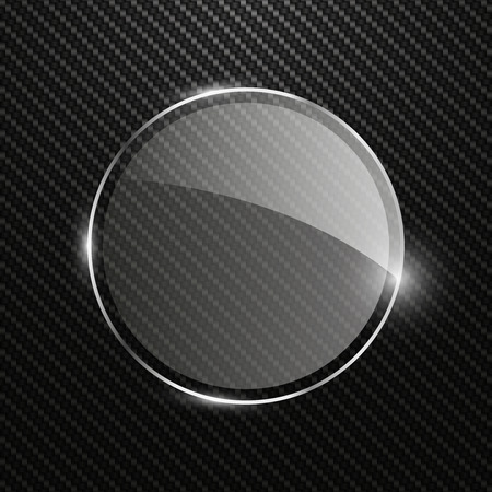 dark fiber: Abstract carbon background with transparent round glass banner, vector illustration