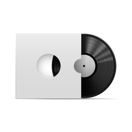 Vinyl Record With Package Template Isolated On White Background