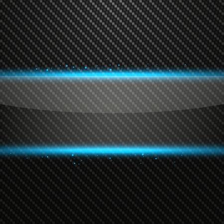 dark fiber: Transparent horizontal glass banner with light effect on Carbon background, vector illustration