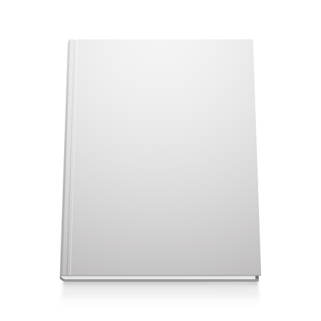 Vector white book template, realistic design, isolated illustration