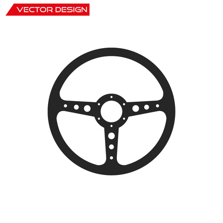 Vector Sport Steering Wheel icon, isolated on white background