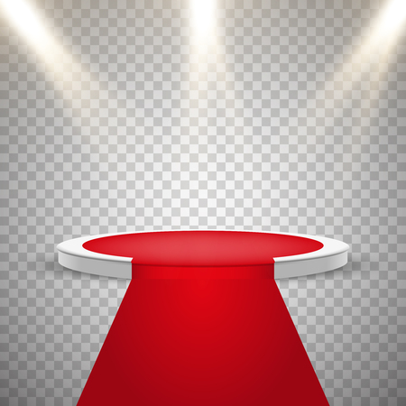 Red carpet and round podium with lights effect, abstract background, vector Illustration