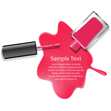 Poured pink nail lacquer background, isolated on white Illustration