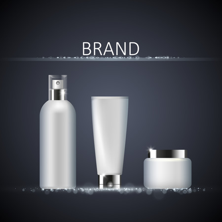 dark complexion: Set of cosmetic packaging on abstract background, realistic design, vector illustration, package template