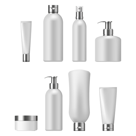jabon liquido: Set of cosmetic packaging with silver caps, isolated on white background. Cosmetic package for cream, shampoo, liquid soap and spray Vectores
