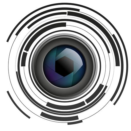 Aperture otturatore su sfondo astratto, obiettivo fotocamera, lente, illustrazione vettoriale Vettoriali