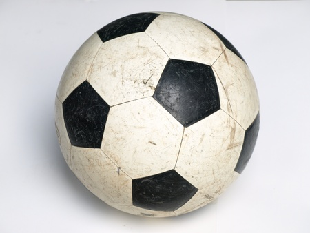 Used classic soccer ball. Color background  photo