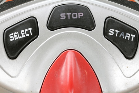 buttom: select start and stop buttom Stock Photo