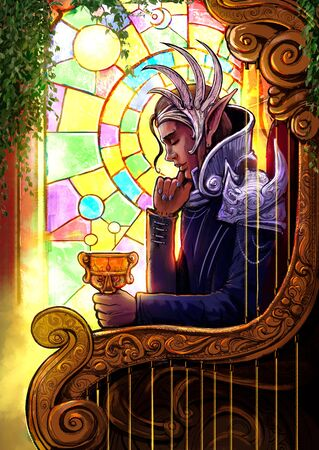 "The handsome elf king is thoughtfully sitting in his golden chair with a cup in his hand, behind him is a beautiful stained glass window, symbolizes the tarot card ""king of the cups"". 2d illustration"