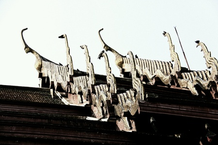 antiquity: Tin roof temple architecture architecture since antiquity. Stock Photo