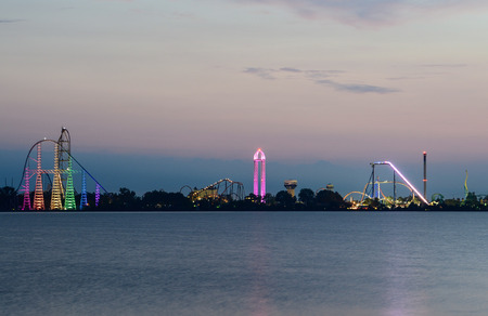 Ceder point amusement park just before sunrise from the shores of Sandusky