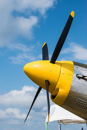 Yellow Plane nose showing propellers very colorful Stock Photo