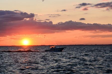 Sunset in Sandusky bay on Lake erie.