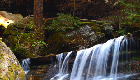 Hidden falls water fall located in hocking hills Ohio Stock Photo