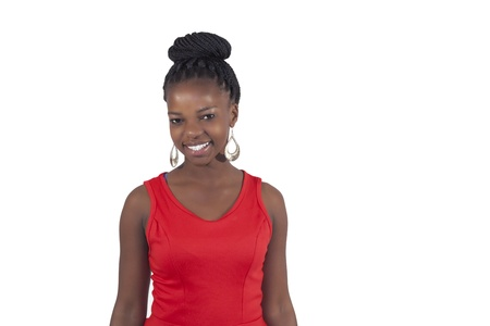 African young girl smilng on white background photo