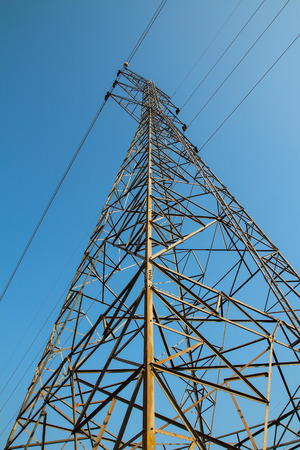 electricity pylon: Electricity Pylon on blue sky.