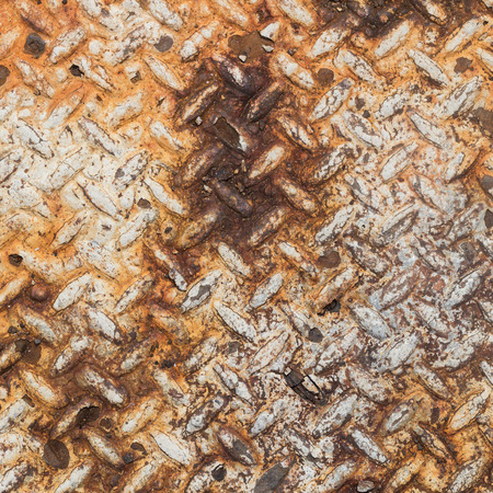 non skid: Texture of rusty old diamond plate metal. Stock Photo