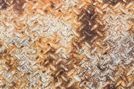 diamond plate: Texture of rusty old diamond plate metal. Stock Photo