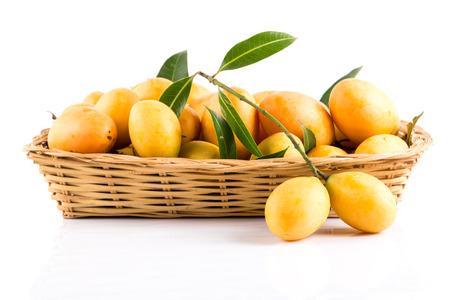 mango: sweet Marian plum thai fruit on white background (Mayongchid Maprang Marian Plum and Plum Mango,Thailand)