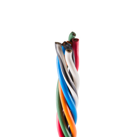 earthing: Electric cable ends, isolated on white. Colorful bundle of electric or electronic cables.