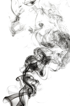 cigar shape: Abstract smoke on white background Stock Photo