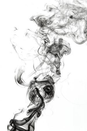 cigar shape: Abstract smoke on white background Stock Photo