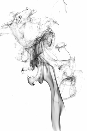 incense: Abstract white smoke on black background. Stock Photo