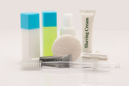 genitals: set of cosmetic bottles on a white background.
