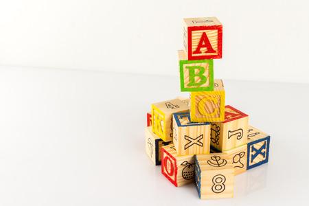 ABC wooden blocks on white background. 版權商用圖片