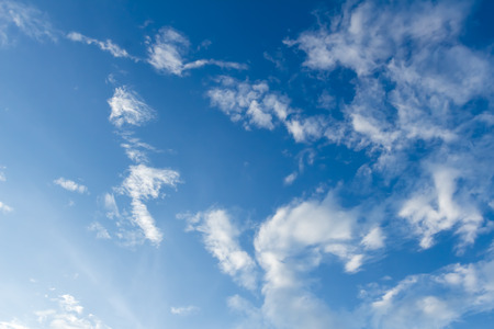 nimbi: blue sky with abstract white clouds Stock Photo