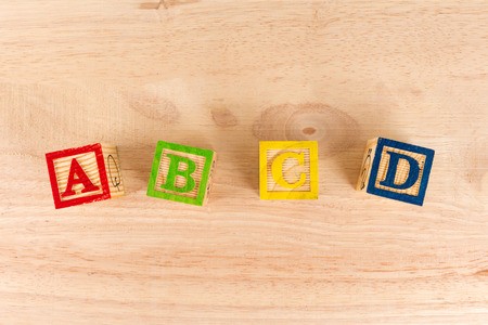ABC wooden blocks on white background. Stock Photo