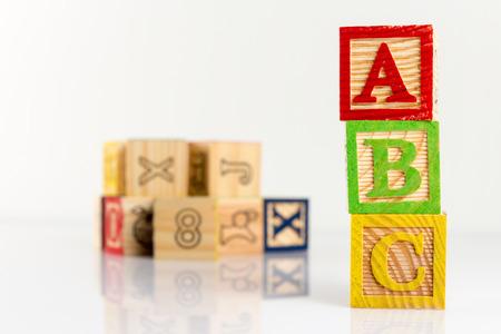 studio b: ABC wooden blocks on white background. Stock Photo