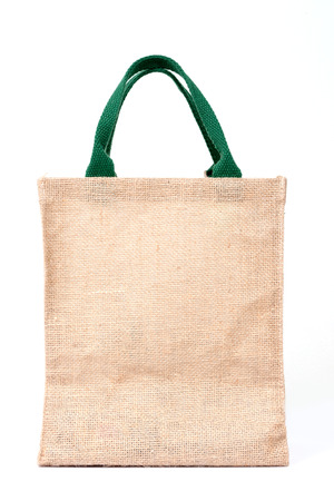 hessian: Shopping bag made out of recycled Hessian sack on white